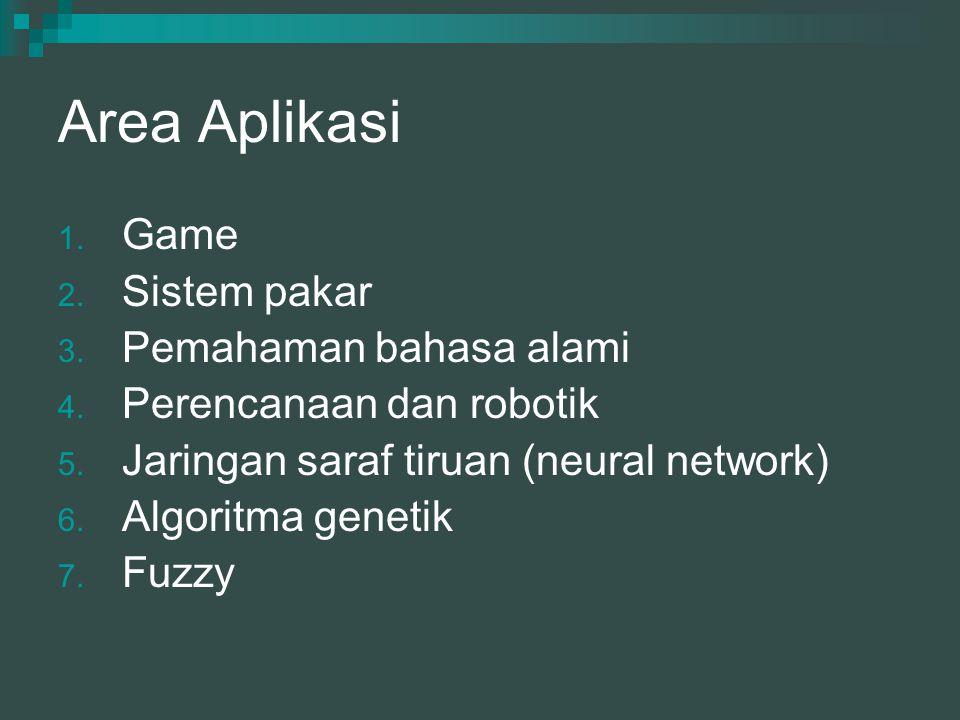 Area Aplikasi 1. Game 2. Sistem pakar 3. Pemahaman bahasa alami 4. Perencanaan dan robotik 5. Jaringan saraf tiruan (neural network) 6. Algoritma gene