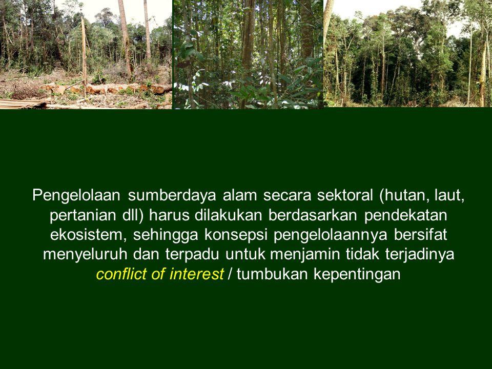 Pengelolaan sumberdaya alam secara sektoral (hutan, laut, pertanian dll) harus dilakukan berdasarkan pendekatan ekosistem, sehingga konsepsi pengelola