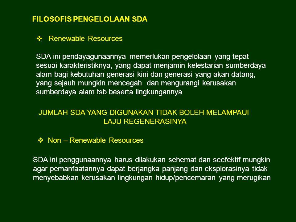 FILOSOFIS PENGELOLAAN SDA  Renewable Resources SDA ini pendayagunaannya memerlukan pengelolaan yang tepat sesuai karakteristiknya, yang dapat menjami