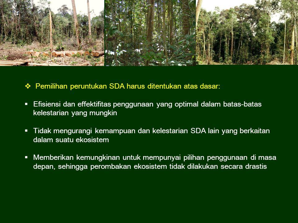  Pemilihan peruntukan SDA harus ditentukan atas dasar:  Efisiensi dan effektifitas penggunaan yang optimal dalam batas-batas kelestarian yang mungki