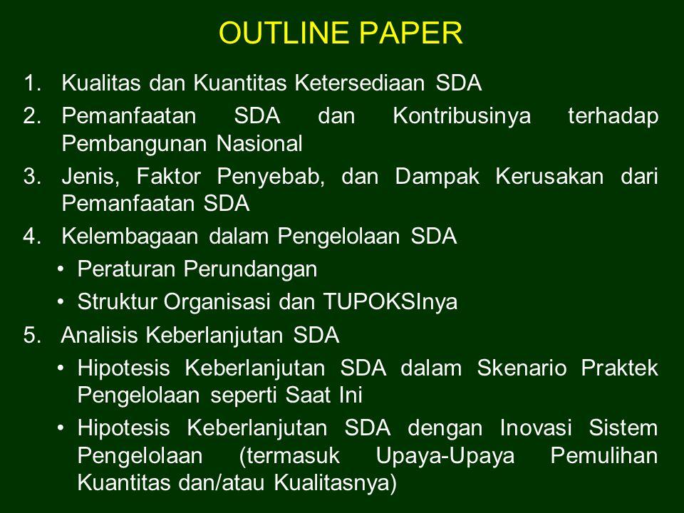 OUTLINE PAPER 1.Kualitas dan Kuantitas Ketersediaan SDA 2.Pemanfaatan SDA dan Kontribusinya terhadap Pembangunan Nasional 3.Jenis, Faktor Penyebab, da