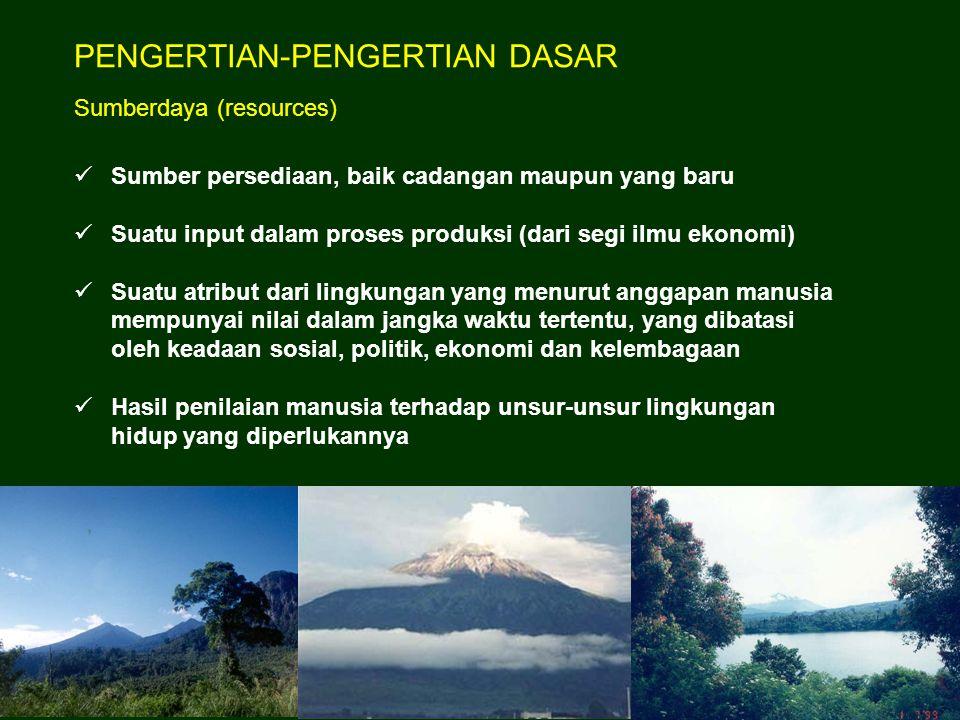 Dasar dari Ilmu Pengelolaan Sumberdaya Alam adalah Ekologi dengan pendekatan Ekosistem Dalam PSDA, manusia mengubah dan mengatur penggunaan sumberdaya alam dan membinanya manusia berperan sebagai konsumen, pembina, dan produsen