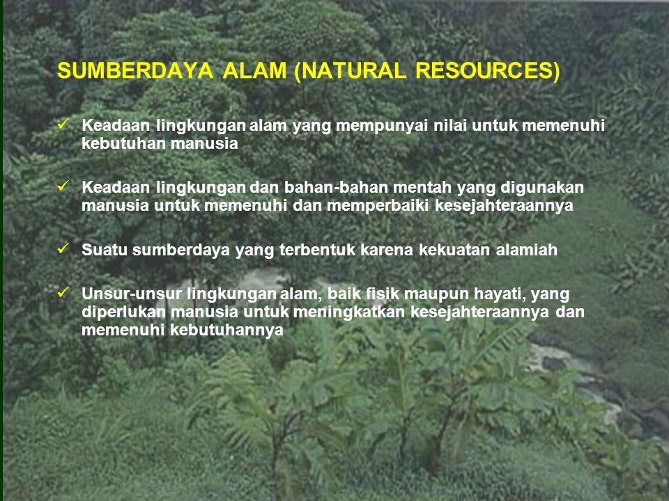 Sumberdaya Alam (SDA) Sifat SDA Fisik (tanah, air, dan udara) SDA Hayati (hutan, padang rumput, perkebunan, dll) Jenis Habitat SDA daratan (hutan, perkebunan, dll) SDA perairan (sungai, laut, danau, dll) SDA Tanah SDA Air dan Udara SDA Energi Renewable atau Flow resources (tanah, air, hutan, perikanan, dll) Non renewable atau fund atau stock resources (minyak bumi, batu bara, gas bumi, bijih logam) Continuous resources (energi matahari, energi pasang surut, udara, air dalam siklus hidrologi, debu di udara, dll) Kebutuhan pokok masyarakat Kemungkinan pemulihan PENGGOLONGAN SUMBERDAYA ALAM Potensi penggunaan Penghasil energi (air, matahari, arus laut, gas bumi, minyak bumi, batu bara, angin, biotis/tumbuhan) Penghasil bahan baku (mineral, gas bumi, biotis, perairan, tanah, dll) SDA lingkungan hidup (udara dan ruang, perairan, landscape, dll)