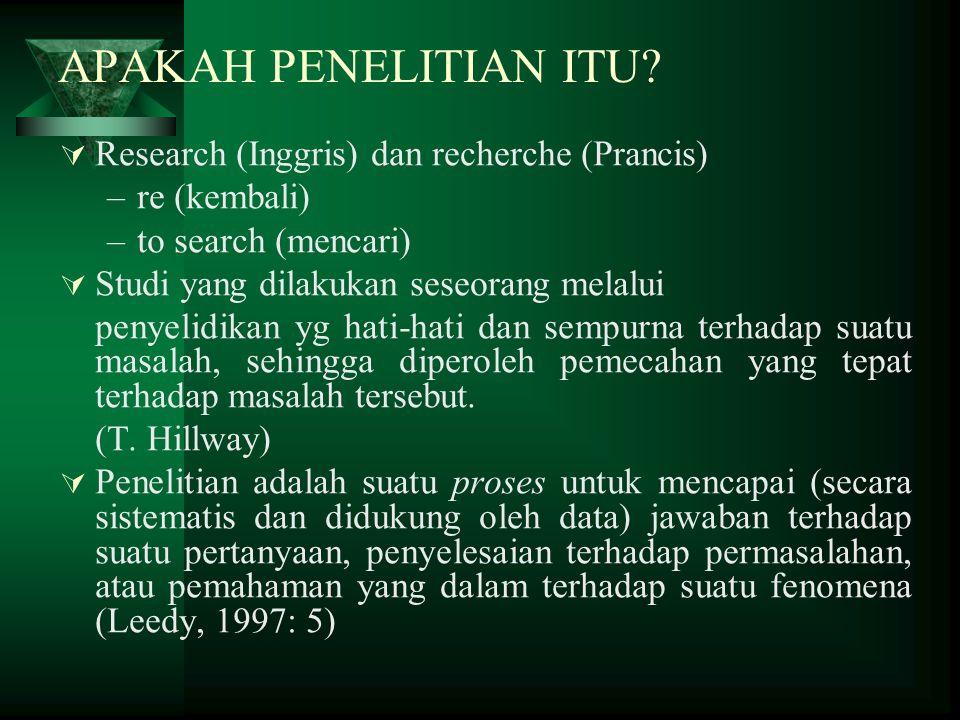 Pengertian yang benar tentang Penelitian dan Karakteristik Proses Penelitian 1.