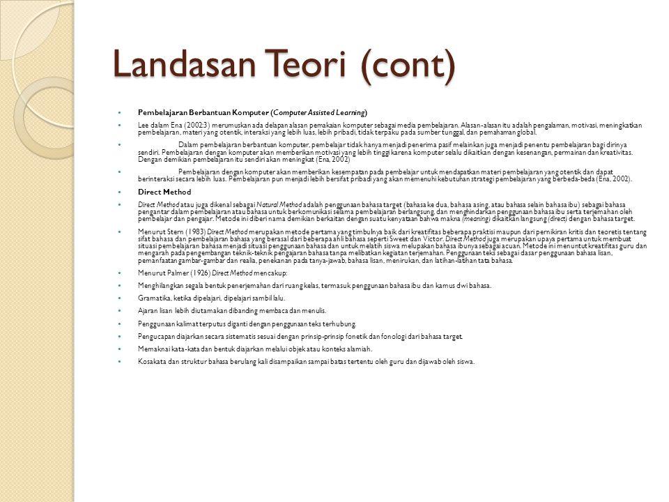 Landasan Teori (cont) Pembelajaran Berbantuan Komputer (Computer Assisted Learning) Lee dalam Ena (2002:3) merumuskan ada delapan alasan pemakaian kom