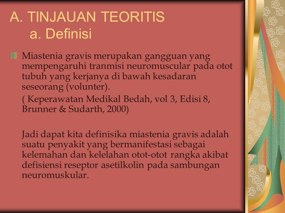 A. TINJAUAN TEORITIS a. Definisi Miastenia gravis merupakan gangguan yang mempengaruhi tranmisi neuromuscular pada otot tubuh yang kerjanya di bawah k