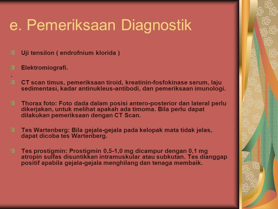 e. Pemeriksaan Diagnostik Uji tensilon ( endrofnium klorida ) Elektromiografi.. CT scan timus, pemeriksaan tiroid, kreatinin-fosfokinase serum, laju s
