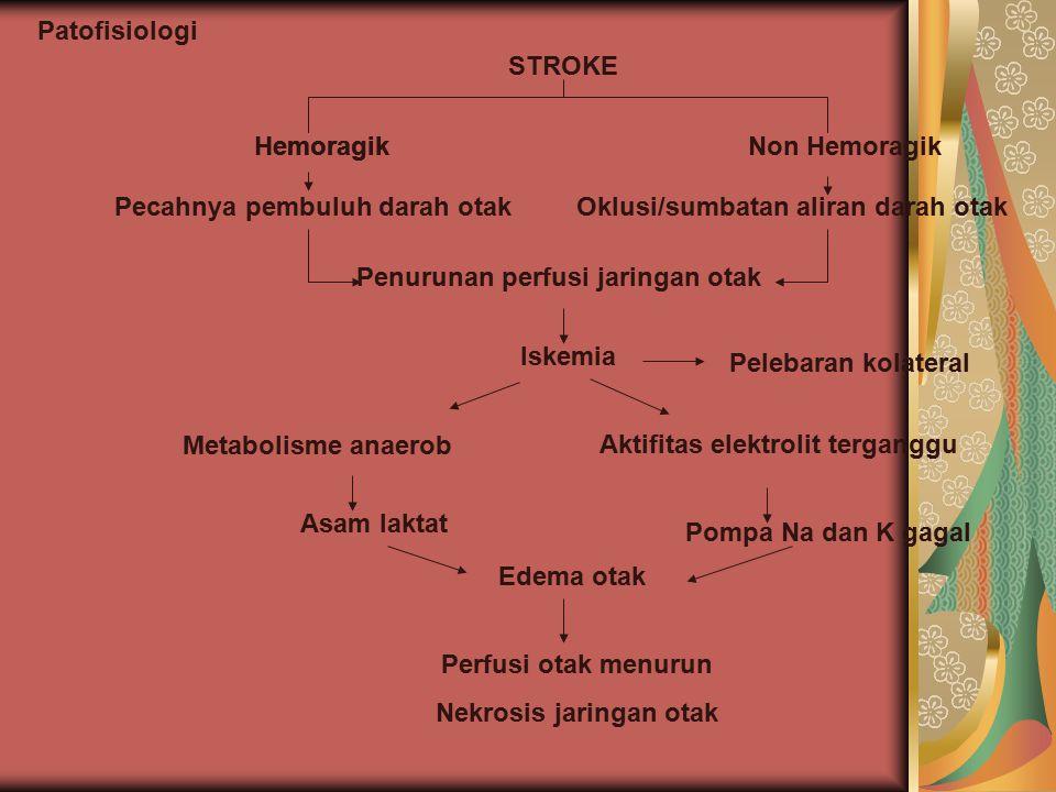 Patofisiologi STROKE Hemoragik Pecahnya pembuluh darah otak Hemoragik Penurunan perfusi jaringan otak Non Hemoragik Oklusi/sumbatan aliran darah otak