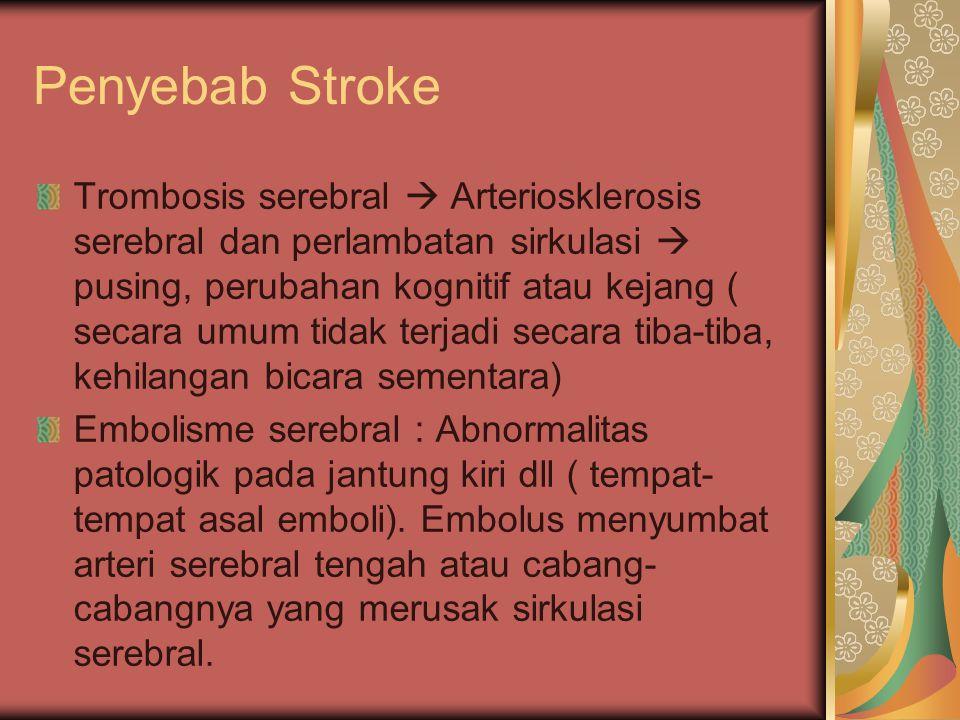 Penyebab Stroke Trombosis serebral  Arteriosklerosis serebral dan perlambatan sirkulasi  pusing, perubahan kognitif atau kejang ( secara umum tidak