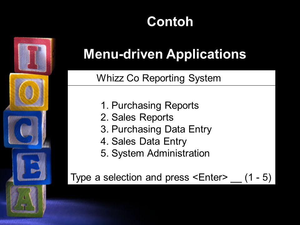 Menu-driven Applications 1. Purchasing Reports 2. Sales Reports 3. Purchasing Data Entry 4. Sales Data Entry 5. System Administration Type a selection