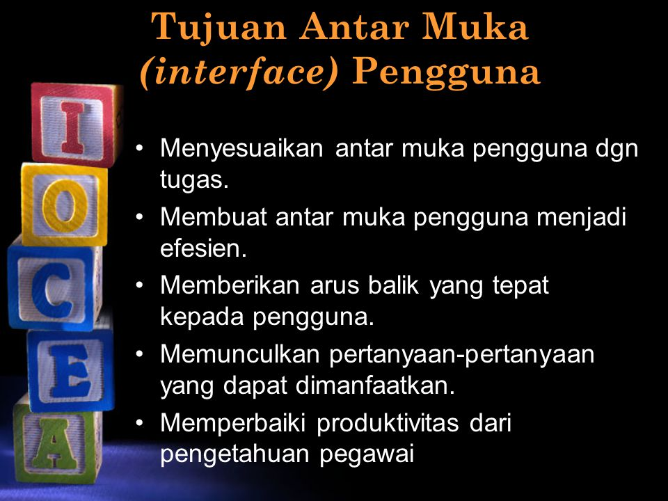 Tipe-tipe user interface User interface bahasa alamiah User interface pertanyaan & jawaban User interface menu-menu User interface formulir isian User interface bahasa perintah User interface GUI (Graphical User Interface) User interface pada web, dll.