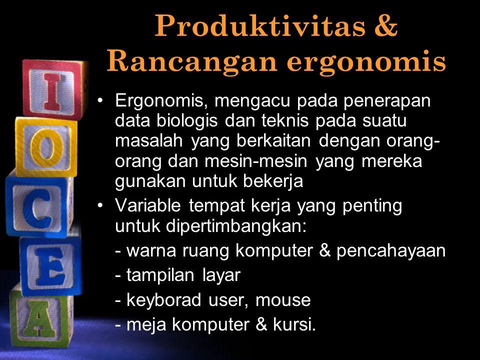 Produktivitas & Rancangan ergonomis Ergonomis, mengacu pada penerapan data biologis dan teknis pada suatu masalah yang berkaitan dengan orang- orang d
