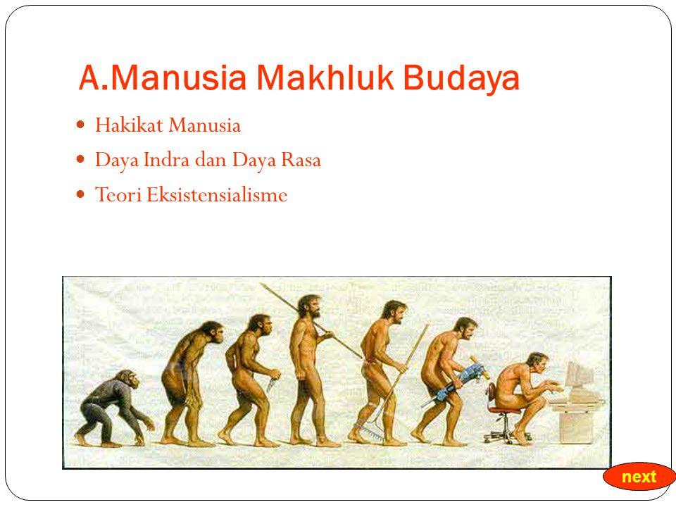 A.Manusia Makhluk Budaya Hakikat Manusia Daya Indra dan Daya Rasa Teori Eksistensialisme next