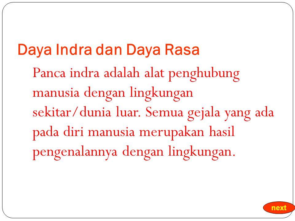 Daya Indra dan Daya Rasa Panca indra adalah alat penghubung manusia dengan lingkungan sekitar/dunia luar.