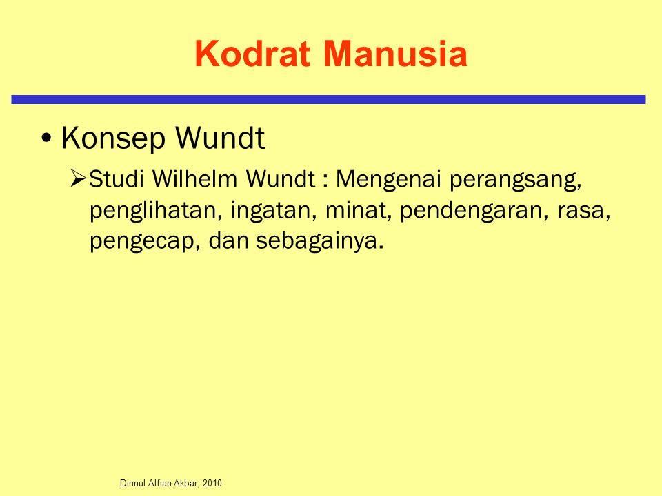 Dinnul Alfian Akbar, 2010 Kodrat Manusia Konsep Wundt  Studi Wilhelm Wundt : Mengenai perangsang, penglihatan, ingatan, minat, pendengaran, rasa, pengecap, dan sebagainya.