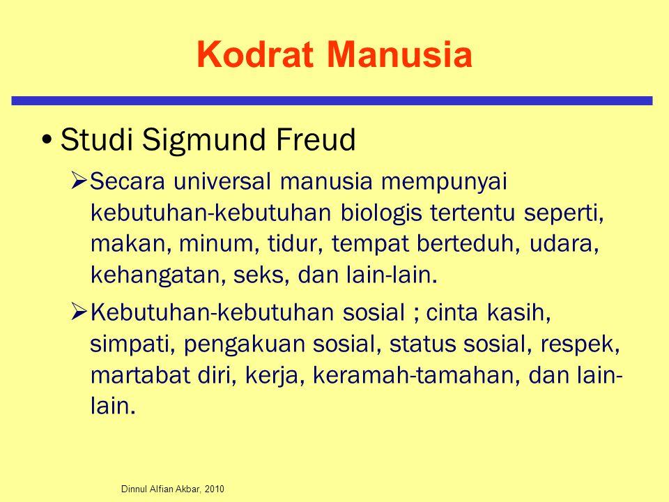 Dinnul Alfian Akbar, 2010 Kodrat Manusia Studi Sigmund Freud  Secara universal manusia mempunyai kebutuhan-kebutuhan biologis tertentu seperti, makan, minum, tidur, tempat berteduh, udara, kehangatan, seks, dan lain-lain.