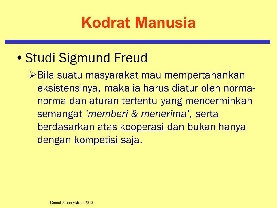 Dinnul Alfian Akbar, 2010 Kodrat Manusia Studi Sigmund Freud  Bila suatu masyarakat mau mempertahankan eksistensinya, maka ia harus diatur oleh norma- norma dan aturan tertentu yang mencerminkan semangat 'memberi & menerima', serta berdasarkan atas kooperasi dan bukan hanya dengan kompetisi saja.
