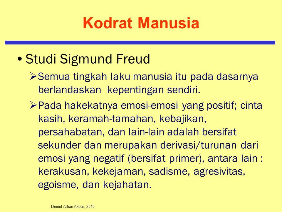 Dinnul Alfian Akbar, 2010 Kodrat Manusia Studi Sigmund Freud  Semua tingkah laku manusia itu pada dasarnya berlandaskan kepentingan sendiri.
