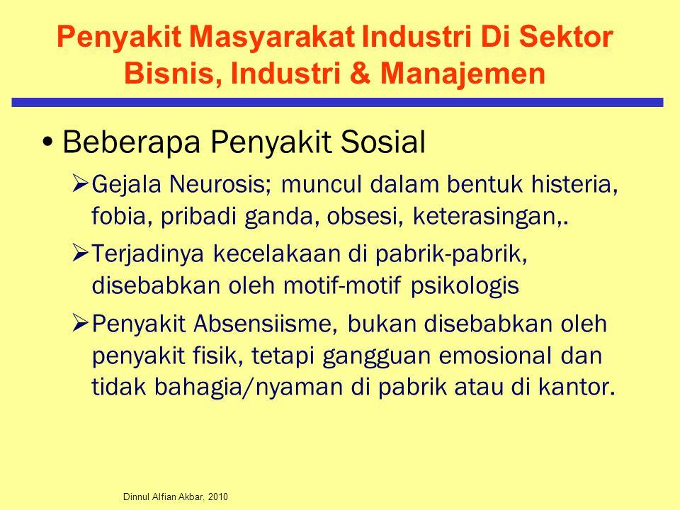 Dinnul Alfian Akbar, 2010 Penyakit Masyarakat Industri Di Sektor Bisnis, Industri & Manajemen Beberapa Penyakit Sosial  Gejala Neurosis; muncul dalam bentuk histeria, fobia, pribadi ganda, obsesi, keterasingan,.