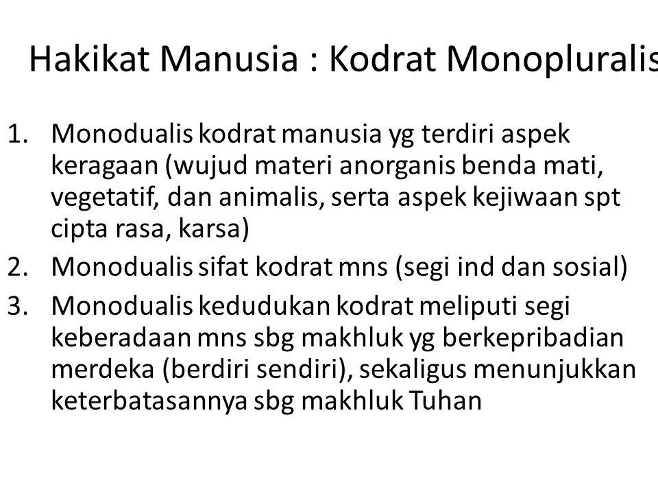 Hakikat Manusia : Kodrat Monopluralis 1.Monodualis kodrat manusia yg terdiri aspek keragaan (wujud materi anorganis benda mati, vegetatif, dan animali
