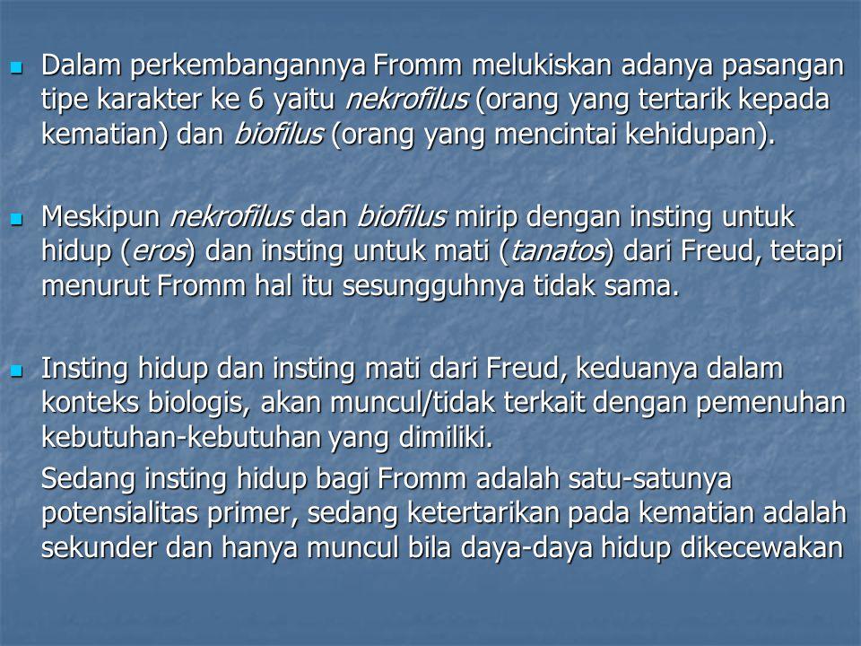 Dalam perkembangannya Fromm melukiskan adanya pasangan tipe karakter ke 6 yaitu nekrofilus (orang yang tertarik kepada kematian) dan biofilus (orang y