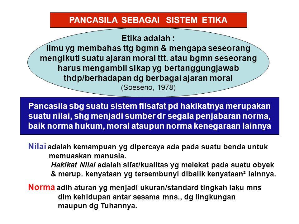 PANCASILA SEBAGAI SISTEM ETIKA Etika adalah : ilmu yg membahas ttg bgmn & mengapa seseorang mengikuti suatu ajaran moral ttt.