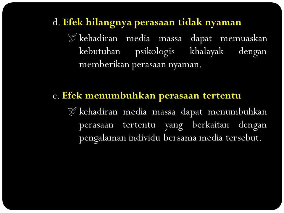 d. Efek hilangnya perasaan tidak nyaman kehadiran media massa dapat memuaskan kebutuhan psikologis khalayak dengan memberikan perasaan nyaman.  kehad