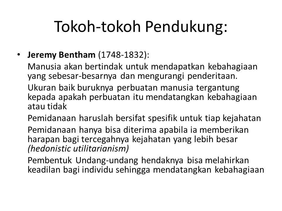 Tokoh-tokoh Pendukung: Jeremy Bentham (1748-1832): Manusia akan bertindak untuk mendapatkan kebahagiaan yang sebesar-besarnya dan mengurangi penderita