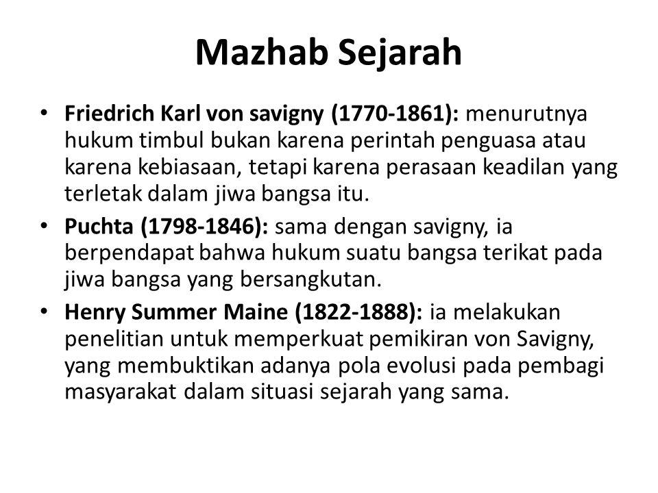 Mazhab Sejarah Friedrich Karl von savigny (1770-1861): menurutnya hukum timbul bukan karena perintah penguasa atau karena kebiasaan, tetapi karena per