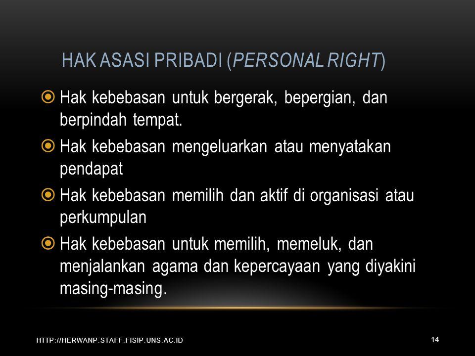 HAK ASASI PRIBADI ( PERSONAL RIGHT ) HTTP://HERWANP.STAFF.FISIP.UNS.AC.ID  Hak kebebasan untuk bergerak, bepergian, dan berpindah tempat.