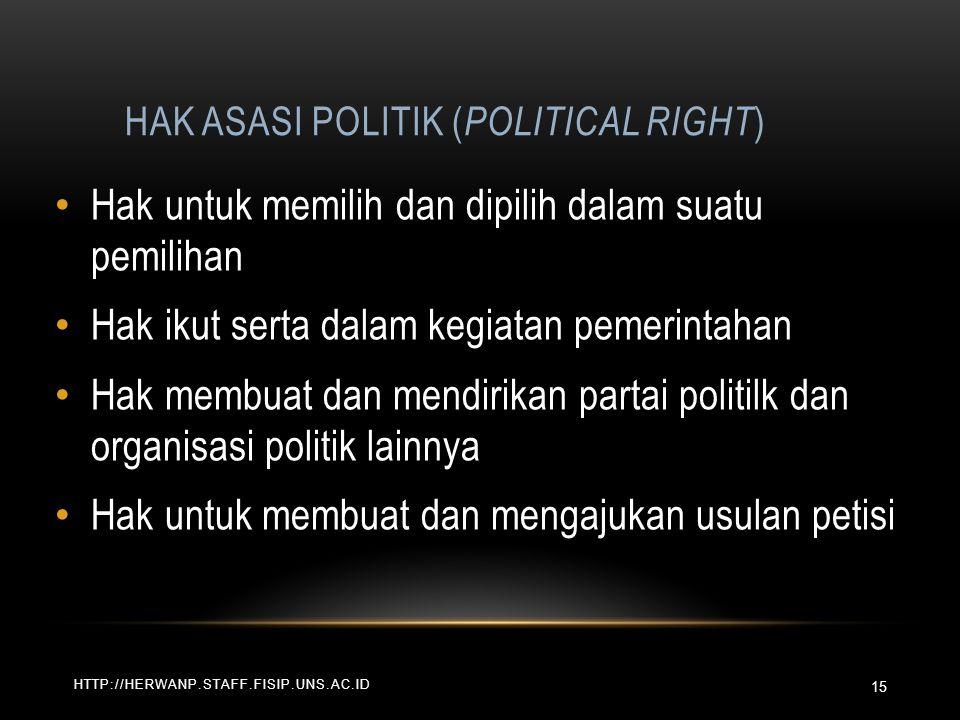 HAK ASASI POLITIK ( POLITICAL RIGHT ) HTTP://HERWANP.STAFF.FISIP.UNS.AC.ID Hak untuk memilih dan dipilih dalam suatu pemilihan Hak ikut serta dalam ke