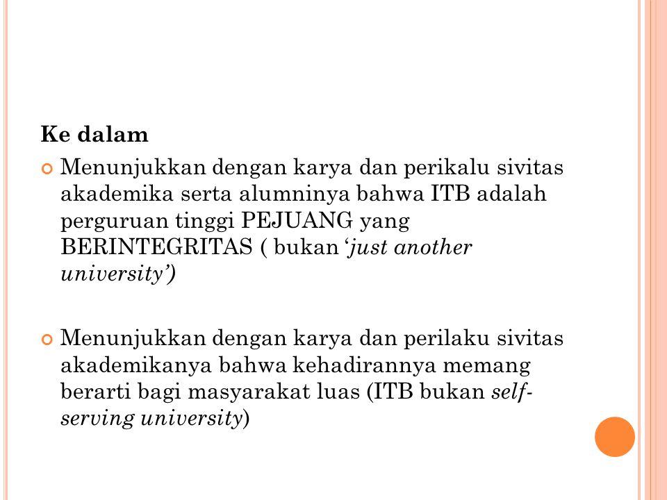 Ke dalam Menunjukkan dengan karya dan perikalu sivitas akademika serta alumninya bahwa ITB adalah perguruan tinggi PEJUANG yang BERINTEGRITAS ( bukan