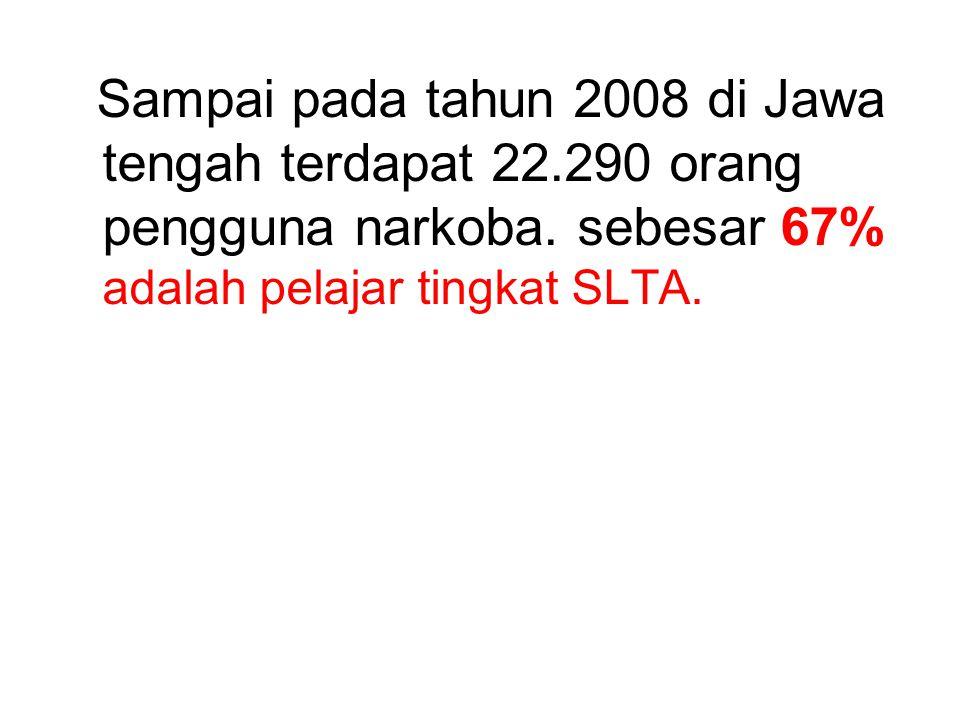Sampai pada tahun 2008 di Jawa tengah terdapat 22.290 orang pengguna narkoba. sebesar 67% adalah pelajar tingkat SLTA.