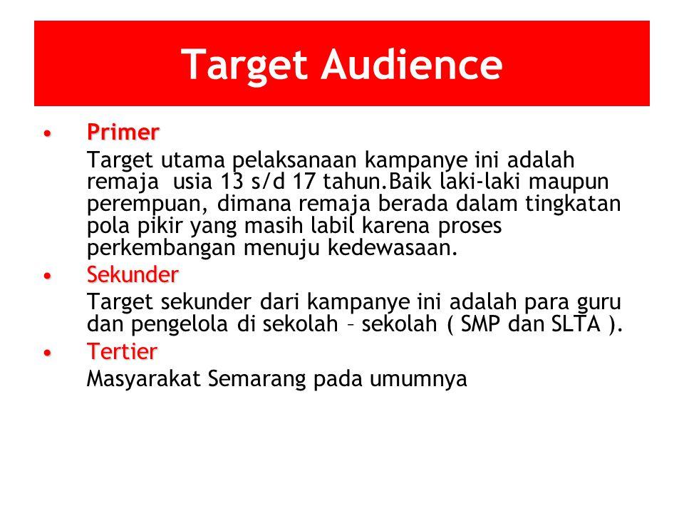 Target Audience PrimerPrimer Target utama pelaksanaan kampanye ini adalah remaja usia 13 s/d 17 tahun.Baik laki-laki maupun perempuan, dimana remaja b