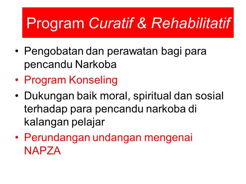 Program Curatif & Rehabilitatif Pengobatan dan perawatan bagi para pencandu Narkoba Program Konseling Dukungan baik moral, spiritual dan sosial terhad