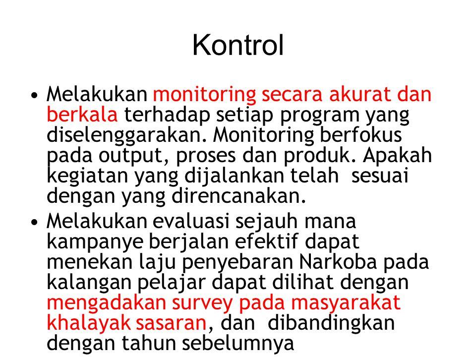 Kontrol Melakukan monitoring secara akurat dan berkala terhadap setiap program yang diselenggarakan. Monitoring berfokus pada output, proses dan produ