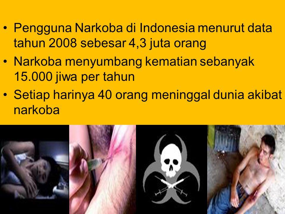 Pengguna Narkoba di Indonesia menurut data tahun 2008 sebesar 4,3 juta orang Narkoba menyumbang kematian sebanyak 15.000 jiwa per tahun Setiap harinya