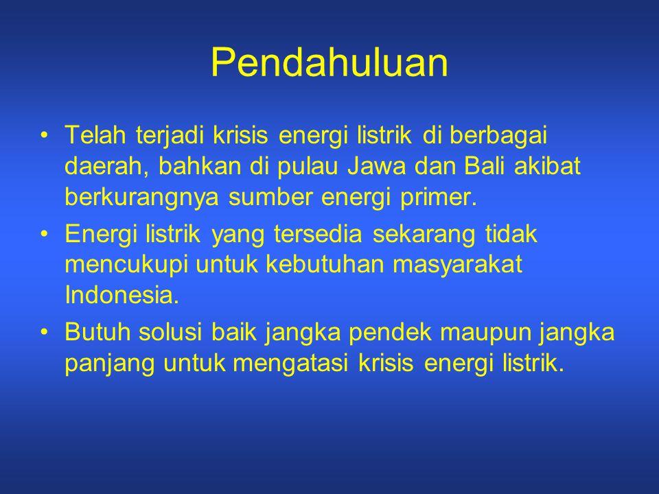Pendahuluan Telah terjadi krisis energi listrik di berbagai daerah, bahkan di pulau Jawa dan Bali akibat berkurangnya sumber energi primer. Energi lis