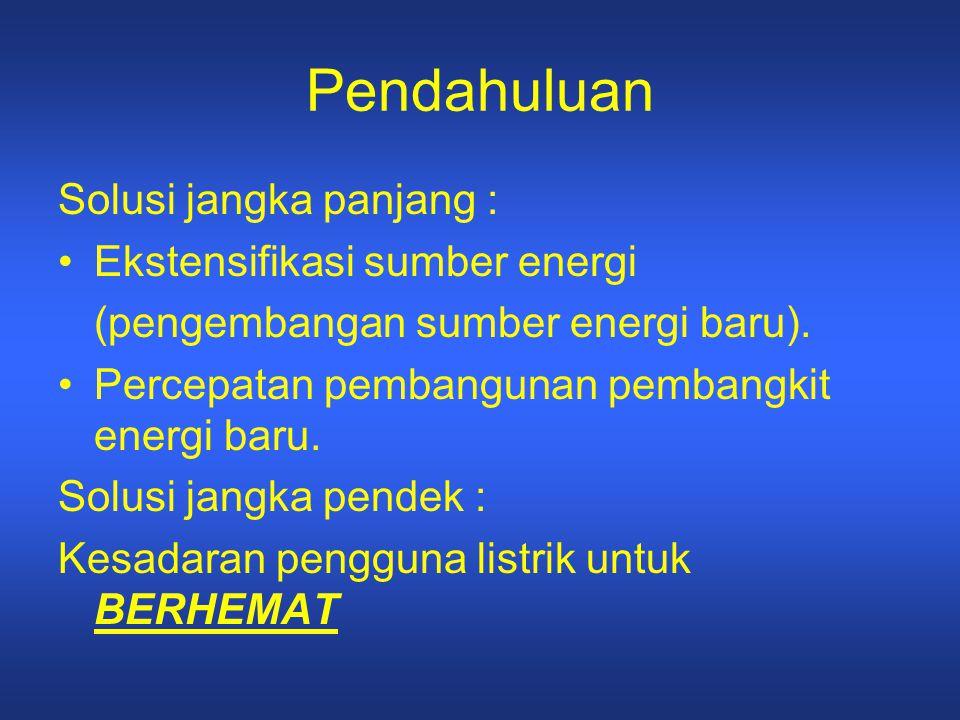 Pendahuluan Solusi jangka panjang : Ekstensifikasi sumber energi (pengembangan sumber energi baru). Percepatan pembangunan pembangkit energi baru. Sol