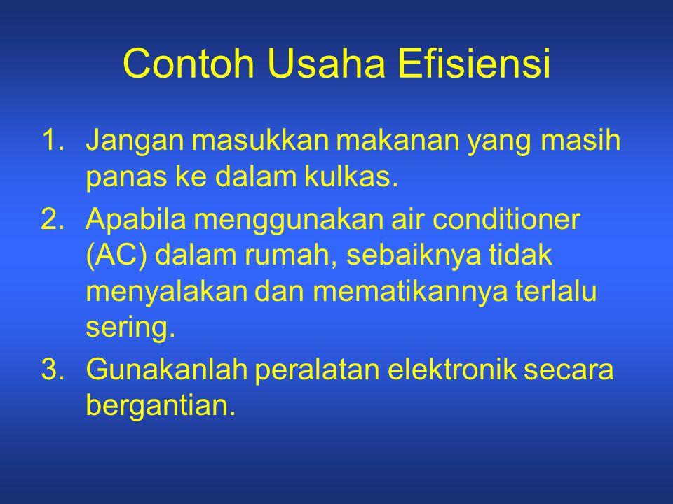 Contoh Usaha Efisiensi 1.Jangan masukkan makanan yang masih panas ke dalam kulkas. 2.Apabila menggunakan air conditioner (AC) dalam rumah, sebaiknya t