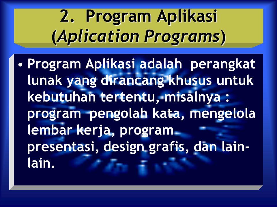 2. Program Aplikasi (Aplication Programs) Program Aplikasi adalah perangkat lunak yang dirancang khusus untuk kebutuhan tertentu, misalnya : program p