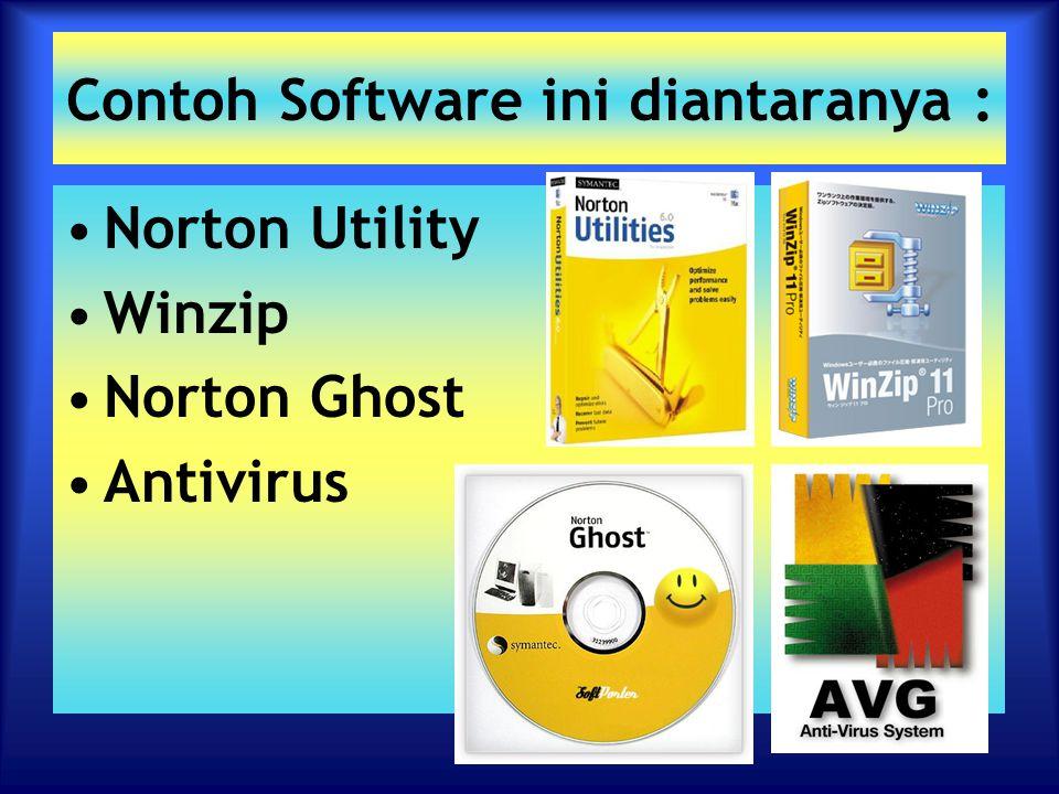 Contoh Software ini diantaranya : Norton Utility Winzip Norton Ghost Antivirus