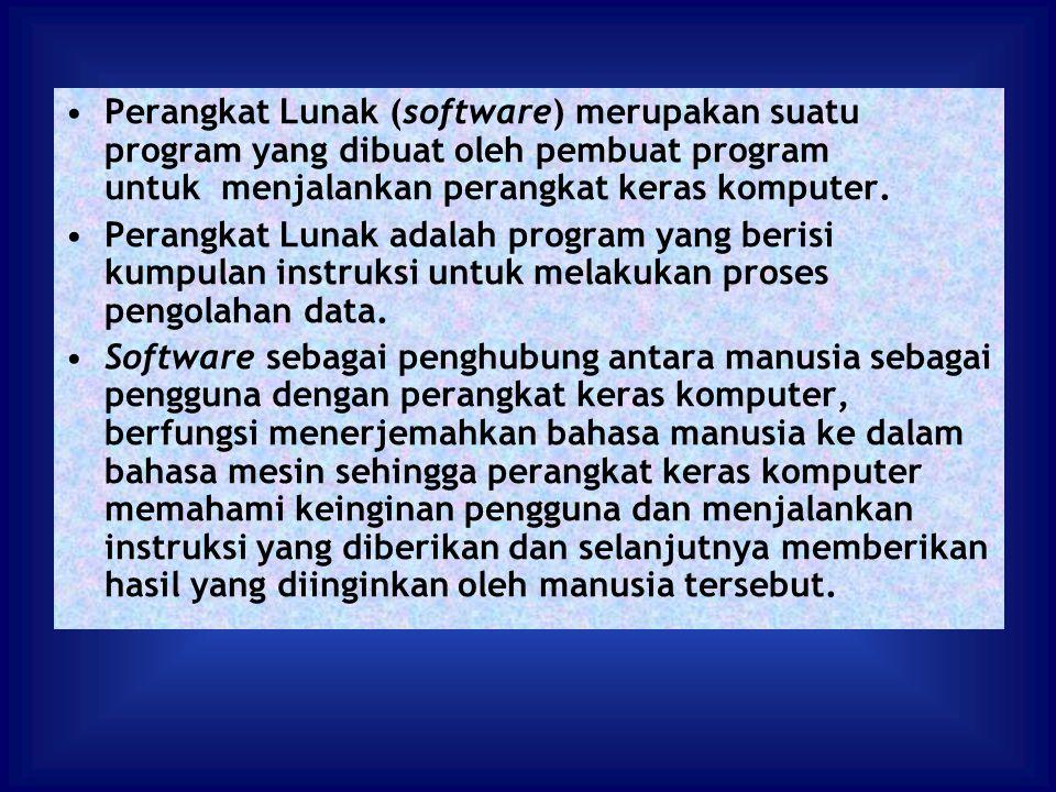 Perangkat Lunak (software) merupakan suatu program yang dibuat oleh pembuat program untuk menjalankan perangkat keras komputer. Perangkat Lunak adalah