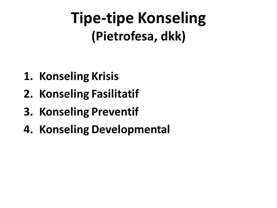 Tipe-tipe Konseling (Pietrofesa, dkk) 1.Konseling Krisis 2.Konseling Fasilitatif 3.Konseling Preventif 4.Konseling Developmental