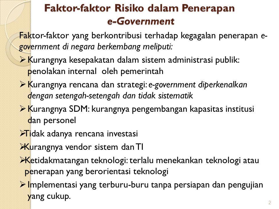 Faktor-faktor Risiko dalam Penerapan e-Government 2 Faktor-faktor yang berkontribusi terhadap kegagalan penerapan e- government di negara berkembang m