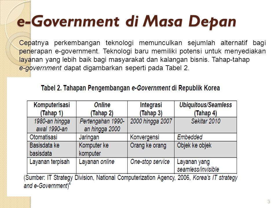 e-Government di Masa Depan 3 Cepatnya perkembangan teknologi memunculkan sejumlah alternatif bagi penerapan e-government. Teknologi baru memiliki pote
