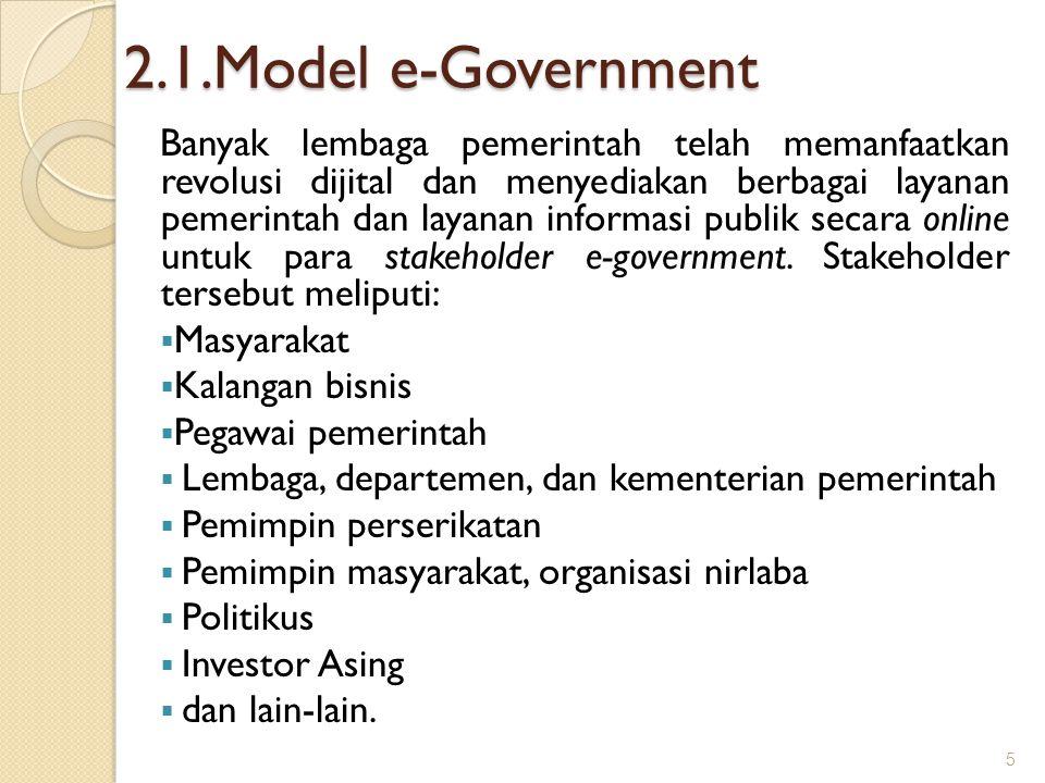 2.1.Model e-Government Banyak lembaga pemerintah telah memanfaatkan revolusi dijital dan menyediakan berbagai layanan pemerintah dan layanan informasi
