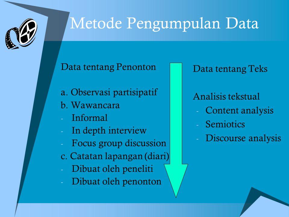 Metode Pengumpulan Data Data tentang Penonton a.Observasi partisipatif b.
