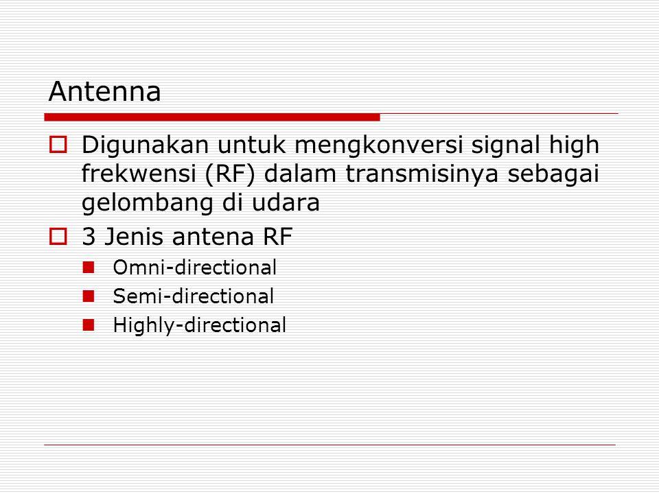Antenna  Digunakan untuk mengkonversi signal high frekwensi (RF) dalam transmisinya sebagai gelombang di udara  3 Jenis antena RF Omni-directional Semi-directional Highly-directional
