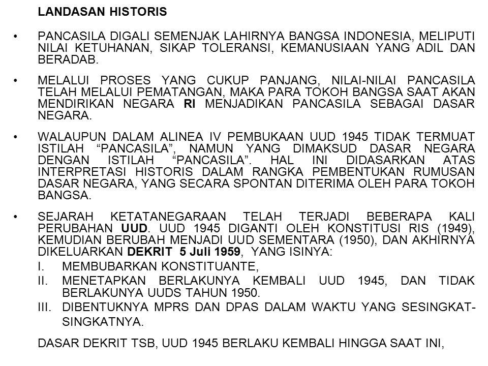 LANDASAN HISTORIS PANCASILA DIGALI SEMENJAK LAHIRNYA BANGSA INDONESIA, MELIPUTI NILAI KETUHANAN, SIKAP TOLERANSI, KEMANUSIAAN YANG ADIL DAN BERADAB. M